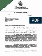 Proyecto extensión plazo Ley 169-14. Carta del presidente Medina al presidente de la Cámara de Diputados