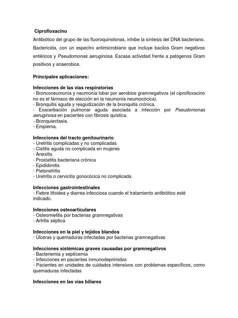 uretritis ciprofloxacina