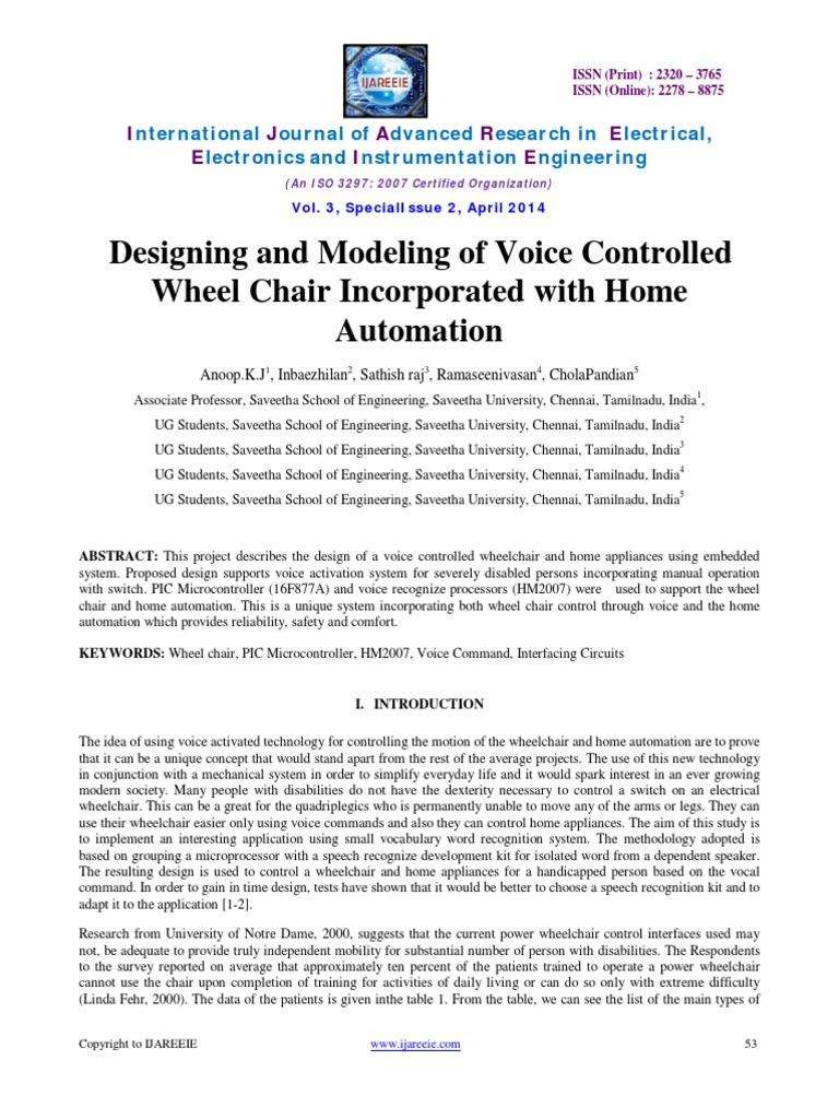 Design Of An Intelligent Voice Controlled Home Automation System Using Iot Activated Abstract