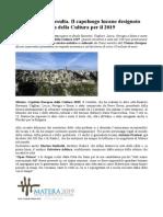 Antonio Preziosi Matera Capitale Europea della Cultura per il 2019