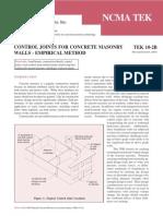 NCMA TEK 10-02B - Control Joints Empirical Method