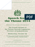 Saskatchewan Throne Speech 2014