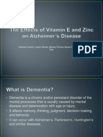 The Effects of Vitamin E and Zinc On Alzheimer's Disease
