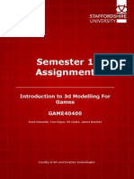 game40400 introduction to 3d modelling for games sem1 assignment 2014