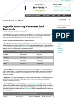 vegetable processing wastewater pond treatments