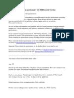 Danny Jaffer 2014 general election questionnaire