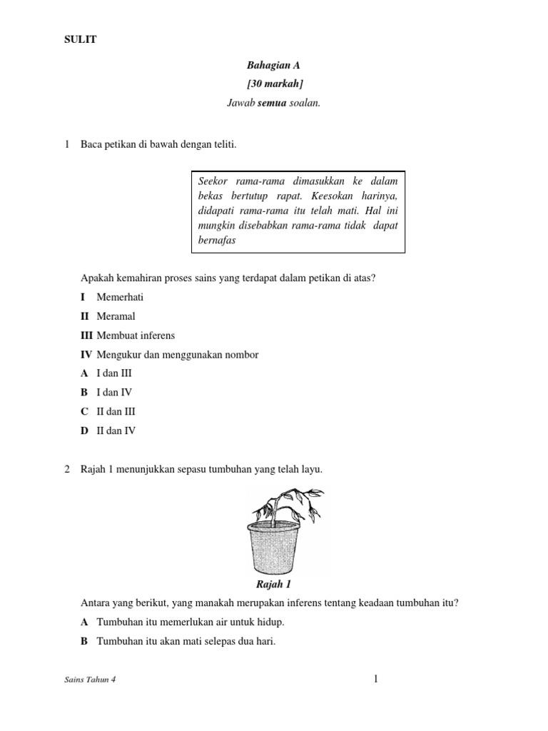 Kertas Soalan Sains Tahun 4 Semester 1