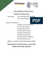 tarea 5 PROCEDIMIENTO Y FACTORES PARA LA SELECCIÓN DISEÑO DE REACTORES QUÍMICOS.docx