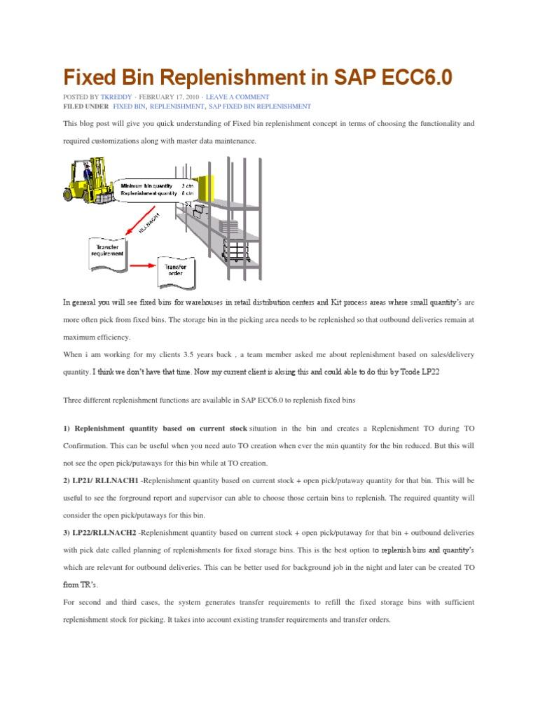 Fixed Bin Replenishment in SAP | Authentication | Barcode