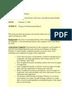 Sample Progress Report