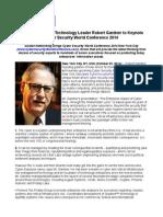 Risk Management Technology Leader Robert Gardner to Keynote Cyber Security World Conference 2014