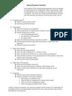 General Evaluator Checklist