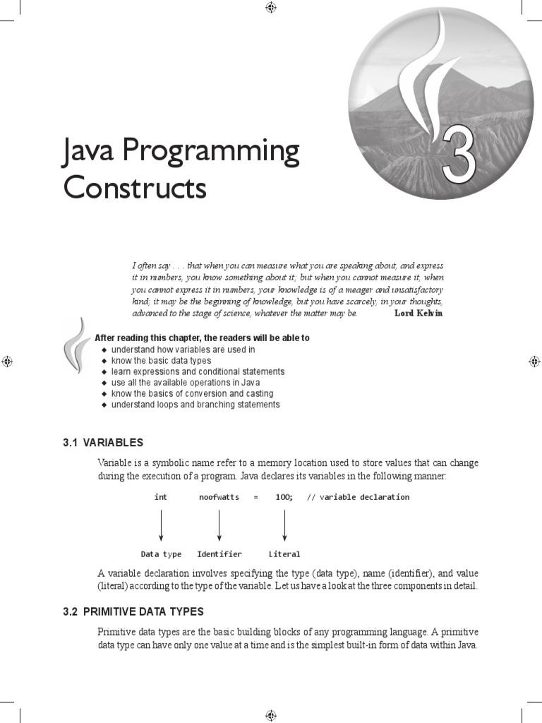 Java Programming Constructs | Data Type | Integer (Computer Science)