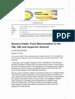 Restore Public Trust Memorandum to the FBI, GBI, and Inspector General