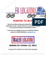 Wanted to Buy Bulletin - October 22, 2014