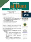 October Legislative Newsletter from Senator Neal Hunt