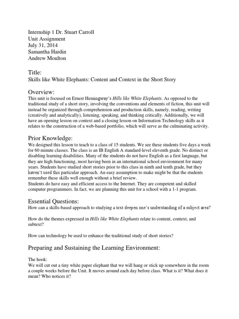 Hills Like White Elephants Essay Topics  Hepatitze Unit Assignment Hills Like White Elephants Rubric Academic