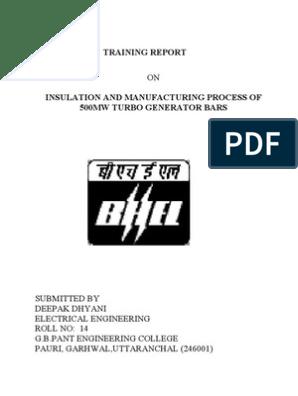 Bhel) Report | Locomotives | Electric Power Transmission