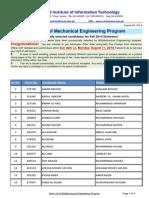 1st Merit List BSME Fall2014