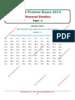 UPPCS Prelims Exam 2014 General Studies (Paper - II) Answer Key