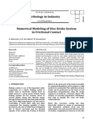 Numerical modeling of disc brake system in frictional