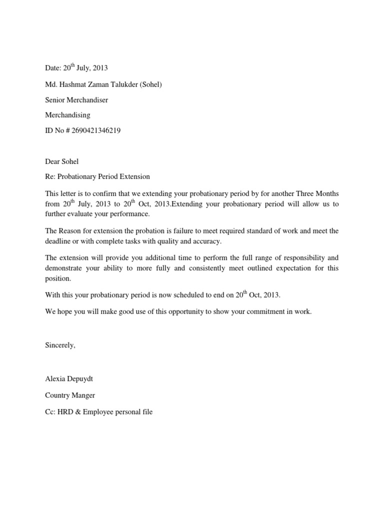 Probation Period Letter Sample from imgv2-1-f.scribdassets.com