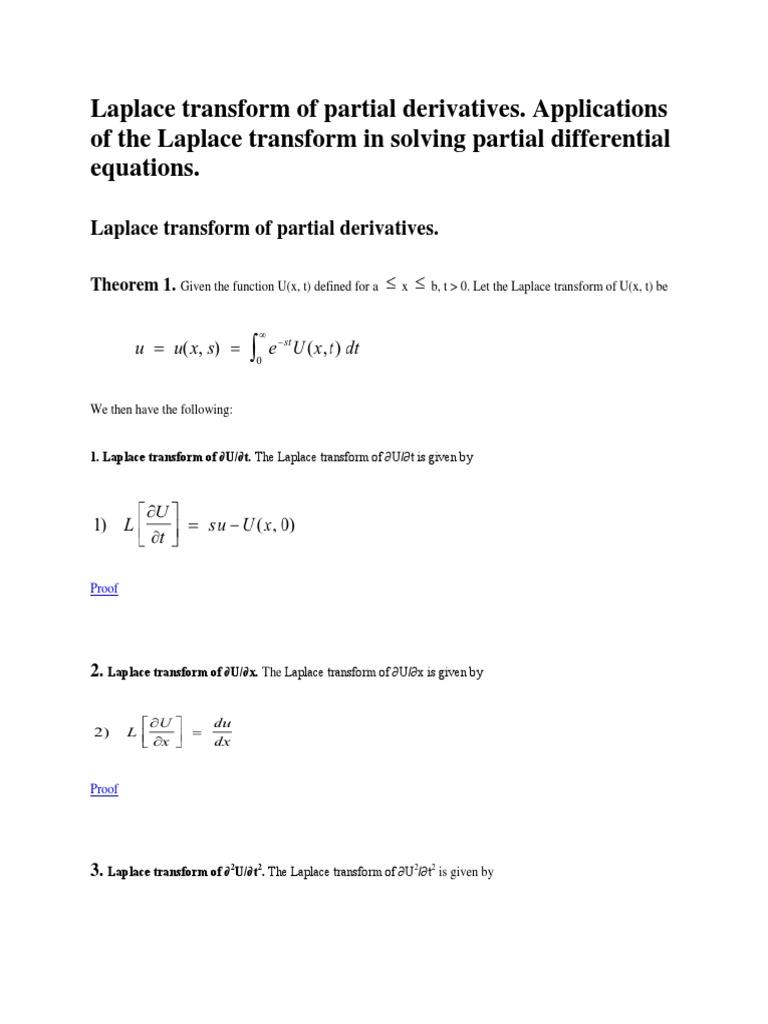 Laplace Transform of Partial Derivatives Laplace