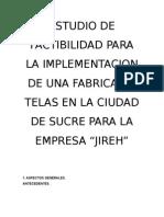 ESTUDIO DE FACTIBILIDAD PARA LA IMPLEMENTACION DE UNA FABRICA DE TELAS EN LA CIUDAD DE SUCRE PARA LA EMPRESA.doc