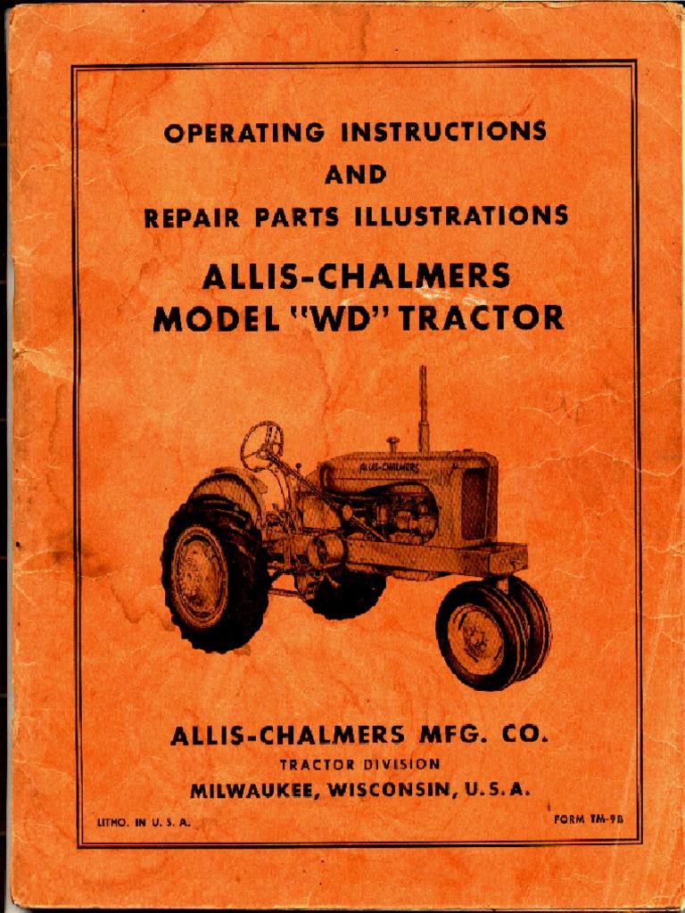 Allis Chalmers Wd45 12 Volt Wiring Diagram Lawn Mower Wd Factory Service Manual Clutch Carburetor Rh Scribd Com For