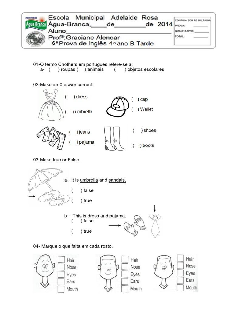 Famosos 06 prova de ingles 4 ano roupas e acessórios.pdf UG17
