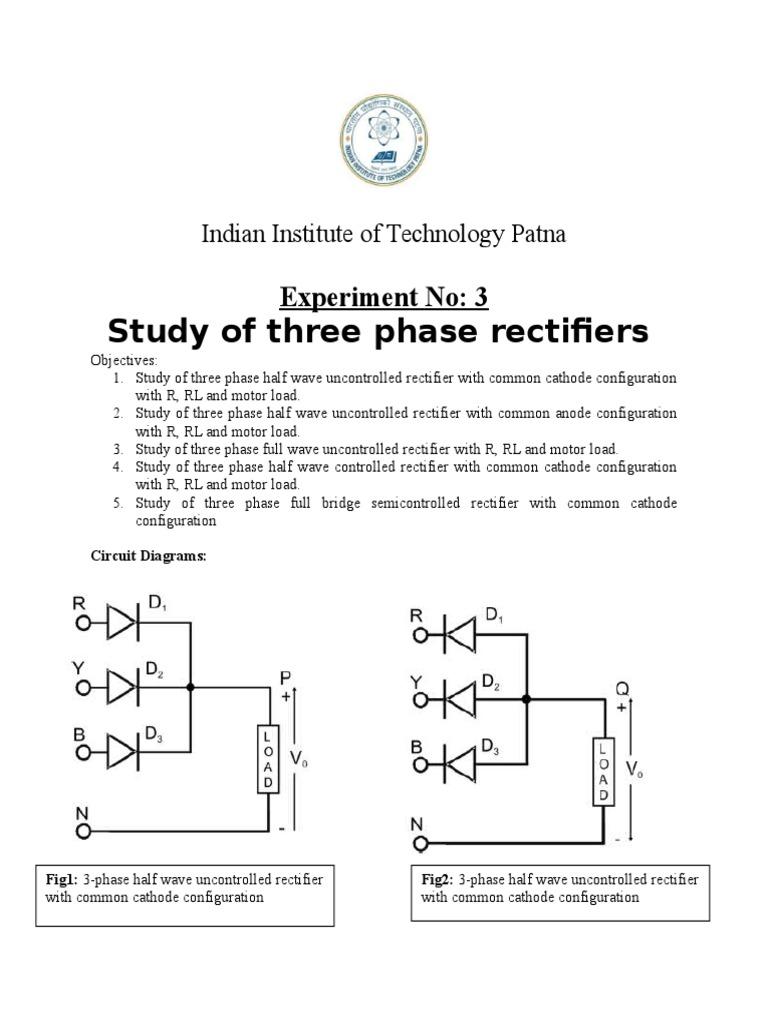 Three Phase Rectifier Circuit Diagram | Exp3 Three Phase Rectifier Rectifier Power Electronics