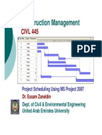 Project Scheduling Using MS Project 2007