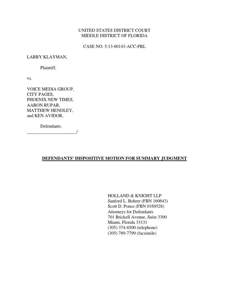 Motion Summary Judgement  Summary Judgment  Defamation