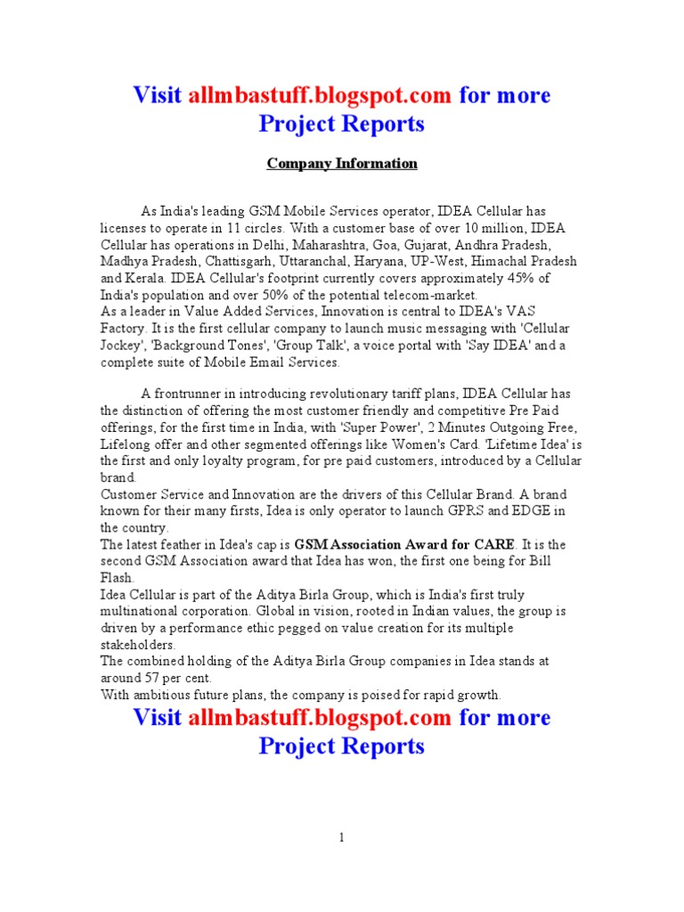 IDEA Project Report | Business