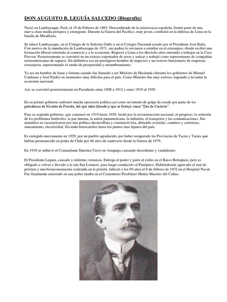 Biografia De Augusto B Leguía Docx Política Agitación