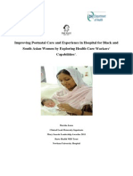 Improving Postnatal Care in Hospital for BME women by Exploring Healthcare workers capabilities