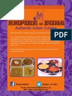 Empire of India Menu A4 Inside