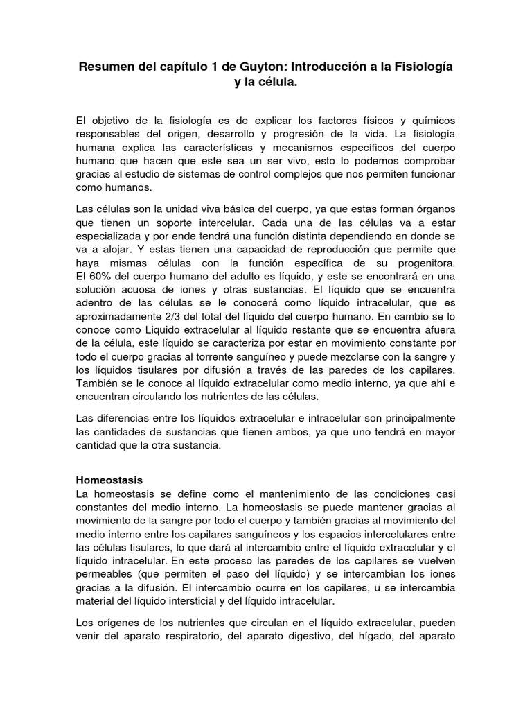 Fisiología de Guyton resumen capítulo 1