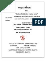 "A PROJECT REPORT on ""Kotak Mahindra Mutul Fund"""