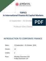 Class 1 - Introduction to Corporate Finance (Itcf) Guanghua 9-10 2014 Ug