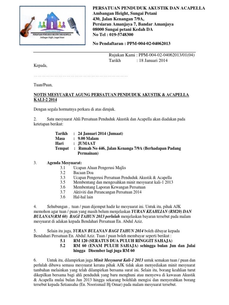 Notis Panggilan Mesyuarat Agung Kali 1 2014
