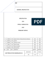 GENERAL Specification Piping Fabrication and Pressure Testing