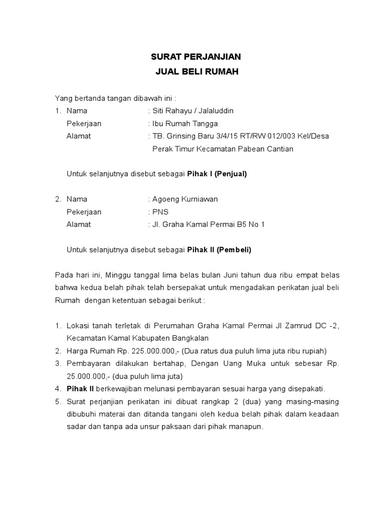 Contoh Surat Pernyataan Jual Beli Tanah Sawah Simak Gambar