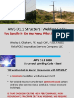 Welding Panel-AWS D1.1 Structural Welding Code-Wes Oliphant