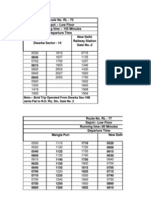 Time+Table+of+DTC+bus+Routes | Passenger Rail Transport