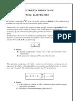 Electrolytic Conductance Weak Electrolytes