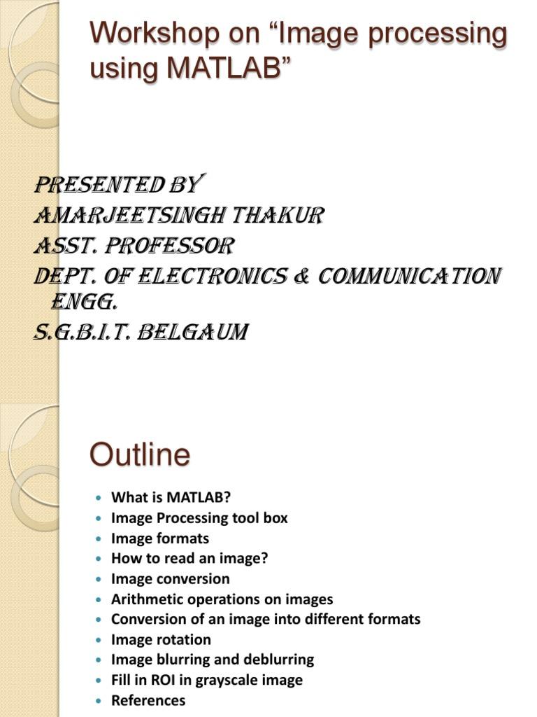 Matlab Image Processing | Matlab | Matrix (Mathematics)