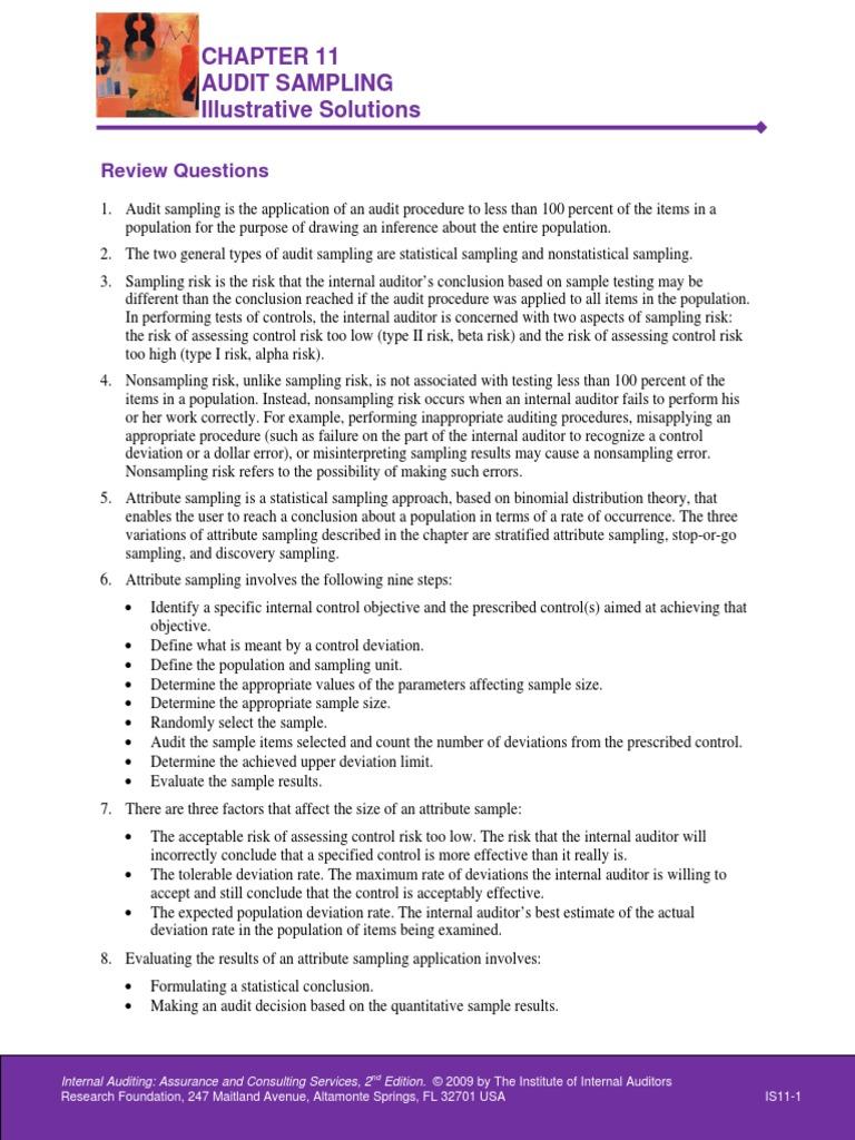 Chapter 11 illustrative solutions internal audit sampling chapter 11 illustrative solutions internal audit sampling statistics fandeluxe Image collections