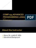 Comp 034 Advanced Programming Language - Prelim