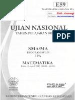Pembahasan Soal UN Matematika SMA Program IPA 2012 Paket E59 Zona D
